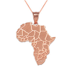 Rose Gold Africa Country Map Pendant Necklace