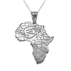 White Gold Eye of Horus Africa Map Pendant Necklace