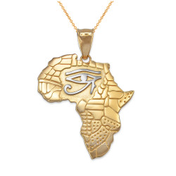 Two-Tone Yellow Gold Eye of Horus Africa Map Pendant Necklace