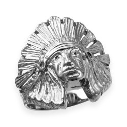 White Gold Indian Chief Ring
