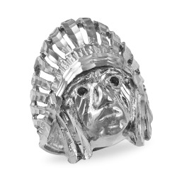 White Gold Indian Chief DC Ring