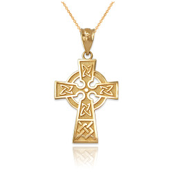 Yellow Gold Celtic Cross Charm Necklace