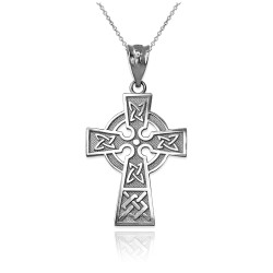 Celtic Cross Charm Necklace in White Gold