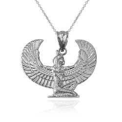 White Gold Egyptian Isis Winged Goddess Pendant Necklace