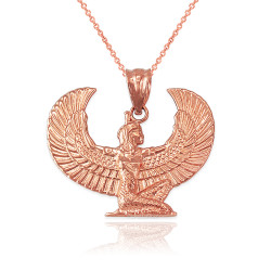 Rose Gold Egyptian Isis Winged Goddess Pendant Necklace