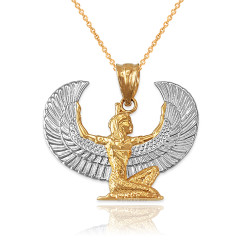 Two-Tone Gold Egyptian Isis Winged Goddess Pendant Necklace