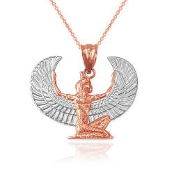 2-tone Rose Gold Egyptian Isis Winged Goddess Pendant Necklace
