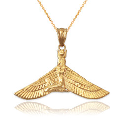 Yellow Gold Isis Egyptian Winged Goddess Pendant Necklace