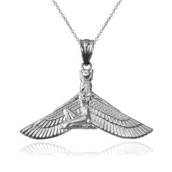 White Gold Isis Egyptian Winged Goddess Pendant Necklace