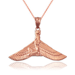Rose Gold Isis Egyptian Winged Goddess Pendant Necklace