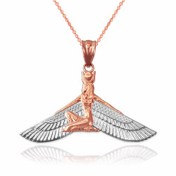 2-Tone Rose Gold Isis Egyptian Winged Goddess Pendant Necklace