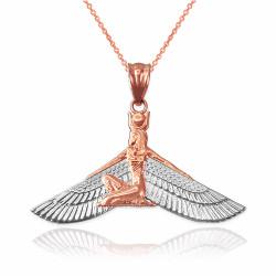 2-Tone Rose Gold Isis Egyptian Winged Goddess Pendant Necklace