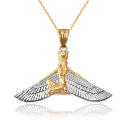 Two-Tone Gold Isis Egyptian Winged Goddess Pendant Necklace