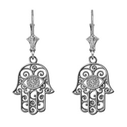 14K White Gold Filigree Hamsa Evil Eye Earrings