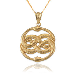 Yellow Gold Double Infinity Ouroboros Snakes Pendant Necklace