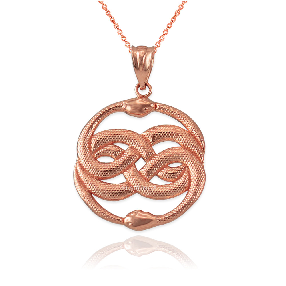LA BLINGZ Sterling Silver Double Infinity Ouroboros Snakes Pendant Necklace