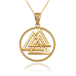 Yellow Gold Viking Valknut Pendant Necklace