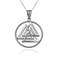 White Gold Viking Valknut Pendant Necklace