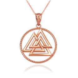 Rose Gold Viking Valknut Pendant Necklace