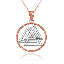 Two-Tone Rose Gold Viking Valknut Pendant Necklace