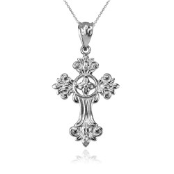 Sterling Silver Fleury Cross Charm Necklace