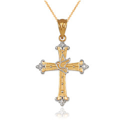 Gold Holy Spirit Dove Cross Diamond Pendant Necklace