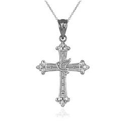 White Gold Holy Spirit Dove Cross Diamond Pendant Necklace