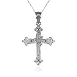 Sterling Silver Holy Spirit Dove Cross Diamond Pendant Necklace