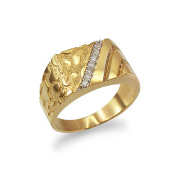 Men's CZ Accent Rectangle Nugget Ring in Yellow Gold