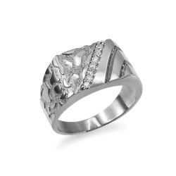 Men's CZ Accent Rectangle Nugget Ring in White Gold