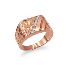 Men's CZ Accent Rectangle Nugget Ring in Rose Gold