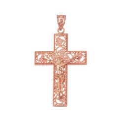 Rose Gold Filigree Crucifix Cross DC Pendant (S/L)