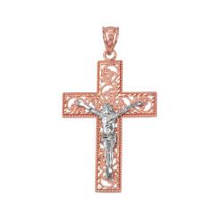Two-tone Rose Gold Filigree Crucifix Cross DC Pendant (S/L)