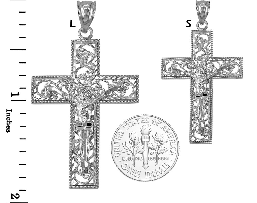 Sterling Silver Polished Filigree Cross Pendant