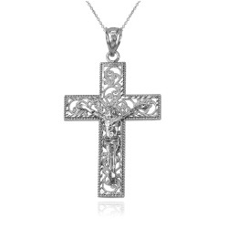 White Gold Filigree Crucifix Cross DC Pendant Necklace