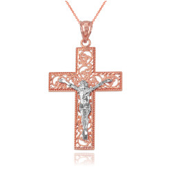 Two-Tone Rose Gold Filigree Crucifix Cross DC Pendant Necklace