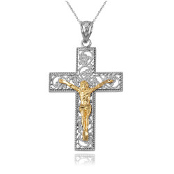 Two-Tone White and Yellow Gold Filigree Crucifix Cross DC Pendant Necklace