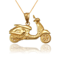 Yellow Gold Vespa Scooter Bike Pendant Necklace
