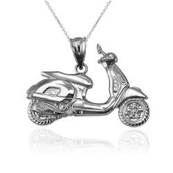 White Gold Vespa Scooter Bike Pendant Necklace