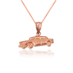 Rose Gold Small Taxi Cab Charm Necklace