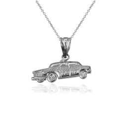 Sterling Silver Small Taxi Cab Charm Necklace