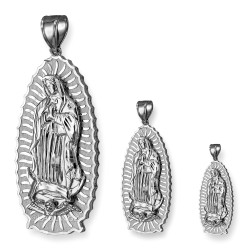 White Gold Our Lady of Guadalupe Virgin Mary Pendant (S/M/L)