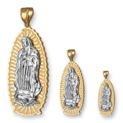 Two-Tone  Yellow and White Gold Our Lady of Guadalupe Virgin Mary Pendant (S/M/L)