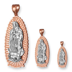 Two-Tone Rose and White Gold Our Lady of Guadalupe Virgin Mary Pendant (S/M/L)