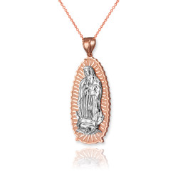 Two-Tone Rose Gold Our Lady of Guadalupe Virgin Mary Pendant Necklace