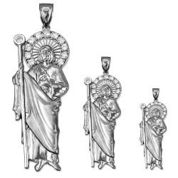 White Gold St. Jude CZ Pendant (S/M/L)