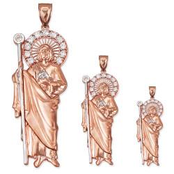 Rose Gold St. Jude CZ Pendant (S/M/L)