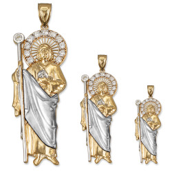 Two-Tone Yellow and White Gold St. Jude CZ Pendant (S/M/L)