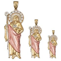Tri-color Gold St. Jude CZ Pendant (S/M/L)