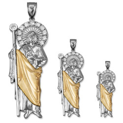Two-Tone White and Yellow Gold St. Jude CZ Pendant (S/M/L)